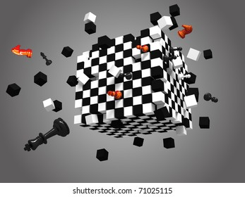 three dimensional exploded chess cube on gray background