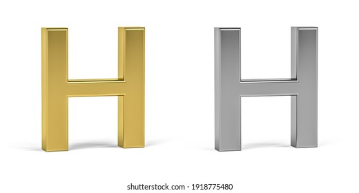 Three dimensional letter H made in two types of materials - gold, aluminum - on white background - 3d render