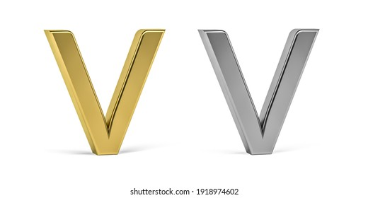 Three dimensional letter V made in two types of materials - gold, aluminum - on white background - 3d render
