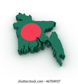Three dimensional map of Bangladesh in Bangladesh flag colors.