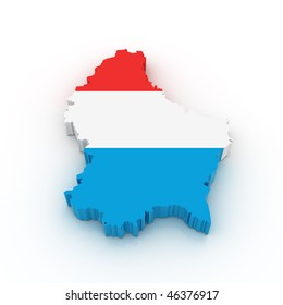 Three dimensional map of Luxembourg in Luxembourg flag colors.