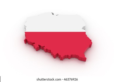 Three dimensional map of Poland in Polish flag colors.