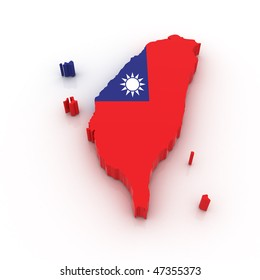 Three dimensional map of Taiwan in Taiwan flag colors.