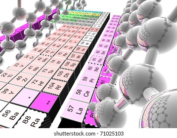 three dimensional periodic mendeleev table and reflective molecules