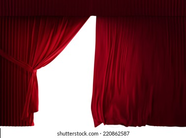 three dimensional realistic stage curtains with a black background