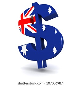 Three dimensional render of the Australian Dollar symbol