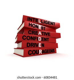 Three dimensional render of a pile of books. The titles of these books are the character traits of great leader. Concept for leadership.