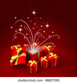 Three dimensional render of a unwrapped gift with magical glows and glitter
