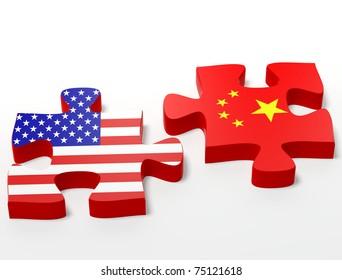 three dimensional shape  puzzle flag USA vs. China