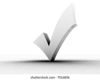 three dimensional shape white check mark