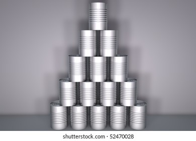 Three dimensional tin can stack on grey background