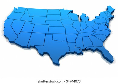 Three dimensional United States blue tone outline on white background.