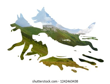 Three dogs running in the background of High Tatras. Photomontage with Three stylized dog silhouettes and photo with rocks in High Tatras.
