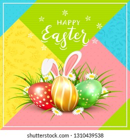 Three Easter eggs with rabbit ears in grass with flowers, ladybugs and lettering Happy Easter on colorful background, illustration.