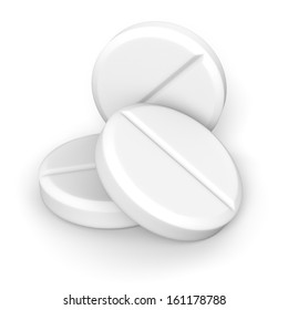 Three effervescent tablets on white background with clipping path.