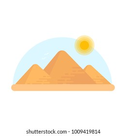 Three Egyptian pyramids of the giza.  cartoon illustration