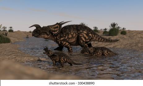 three einiosauruses walking across small river