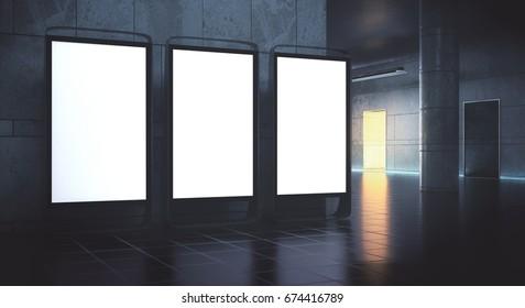 Three empty advert stands in grunge interior. Mock up, 3D Rendering