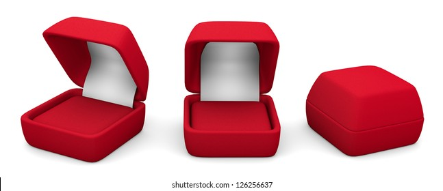 three Empty boxes for rings, red on white background