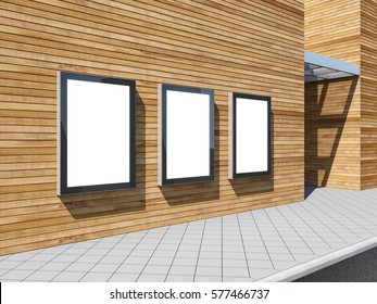 Three empty Lightboxes Mockup on the wooden wall of shopping mall, advertising billboard, 3d rendering