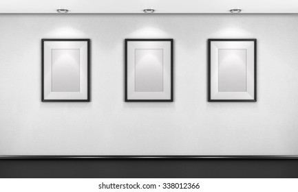 Three empty pictures in the gallery. 3d illustration.