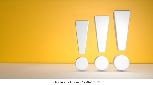 Three exclamation marks on yellow background with copy space. 3d illustration