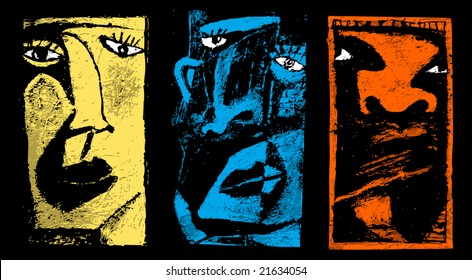 Three faces. Abstract artistic illustration of 3 different faces.