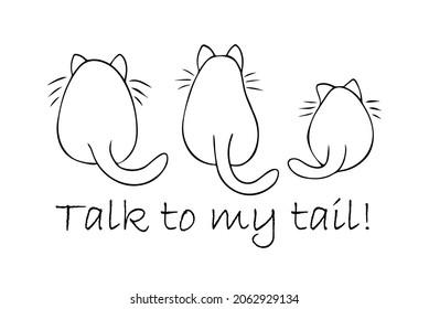 3匹の太った猫が目をそらして、私の背中のメッセージに話し掛け、おかしな猫カード、傲慢な猫の態度