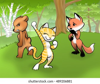 Three female, anthropomorphic cartoon animals stand in a forest.  The bear glares angrily at the cat.  The cat fist-pumps into the air in triumph.  The fox watches the others from behind with concern.