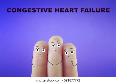 Three fingers decorated as three old people. Congestive heart failure.