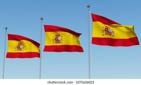 Three flags of Spain waving against blue sky. Three dimensional rendering 3D illustration.