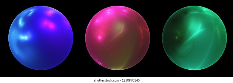 Three fractal balls in bright colors on black background