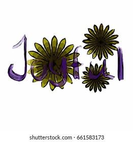 Three fractal flower drawn on white background