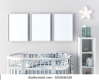 Three frame mockup with oval crib for newborn 3d rendering