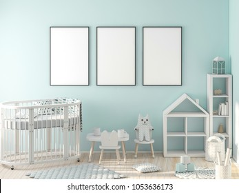 Three frame poster mockup in child room 3d rendering