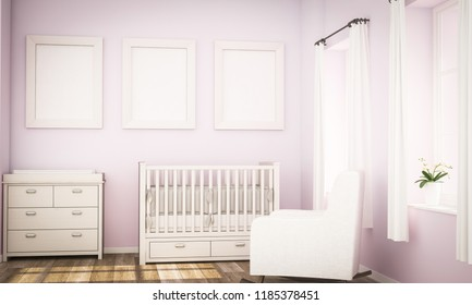 three frames on pink wall on baby room mockup 3d rendering