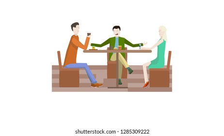 Three friends sitting in a cafe talking and eating fast food.