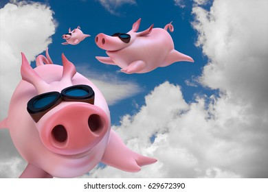 Three funny sky diving flying piggies 3d illustration