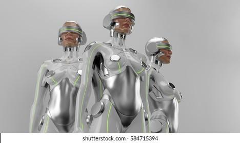 Three futuristic robot women in VR.  Silver cyborgs trio 3d rendering