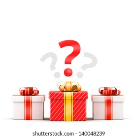 Three gifts - white and red with question selection concept