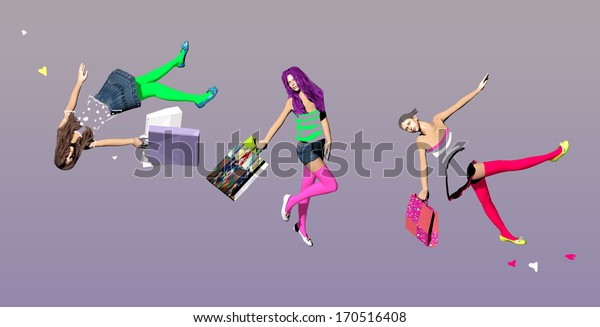 three girls with shopping bags, floating in mid air, over a purple background, 3D illustration, raster illustration