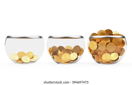 Three glass bowls with different levels of filling golden coins isolated on white background
