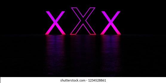 Three glowing purple letters X in dark space. XXX glow letters. Glowing erotic symbol. 3D Render