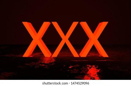Three glowing purple letters X in dark space. X X X glow letters. Glowing erotic symbol. 3D Render