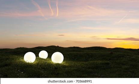 three glowing spheres illumination a garden at sunset 3d rendering