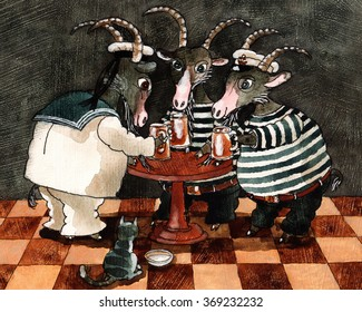 three goat drinking beer at the table ,art,watercolor