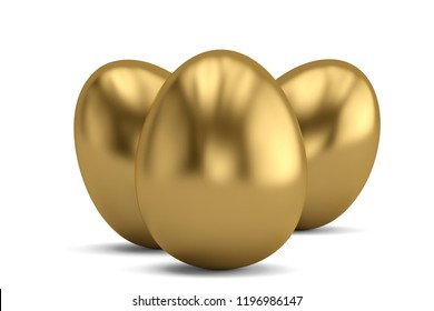 Three golden eggs isolated on white background 3D illustration.