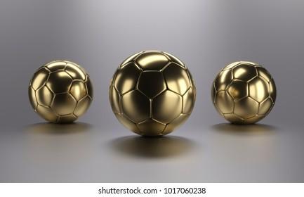Three golden football soccer ball on grey background. 3d rendering