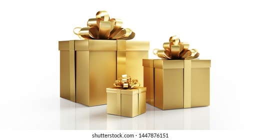 Three golden gift boxes with golden bow - 3D illustration