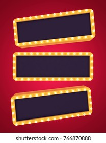 Three golden retro banners on blank background. 3D rendering